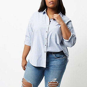 Plus – Chemise rayée bleue et blanche
