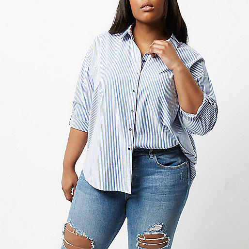 Plus blue and white stripe shirt