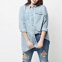 Plus blue longline denim shirt