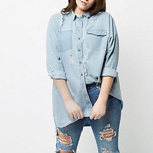 Plus – Chemise en jean longue bleue