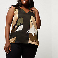 Plus green camo print T-bar cami top