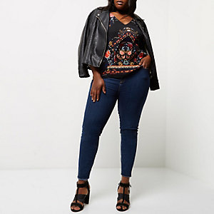 Plus navy print T-bar cami top