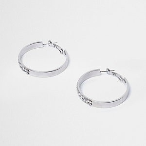 Silver tone rhinestone hoop earrings