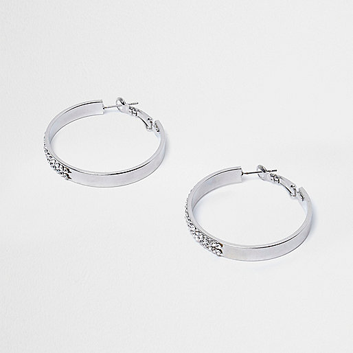 Silver tone diamante hoop earrings