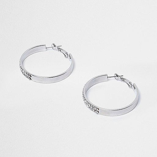 Silver tone rhinestone hoop earrings
