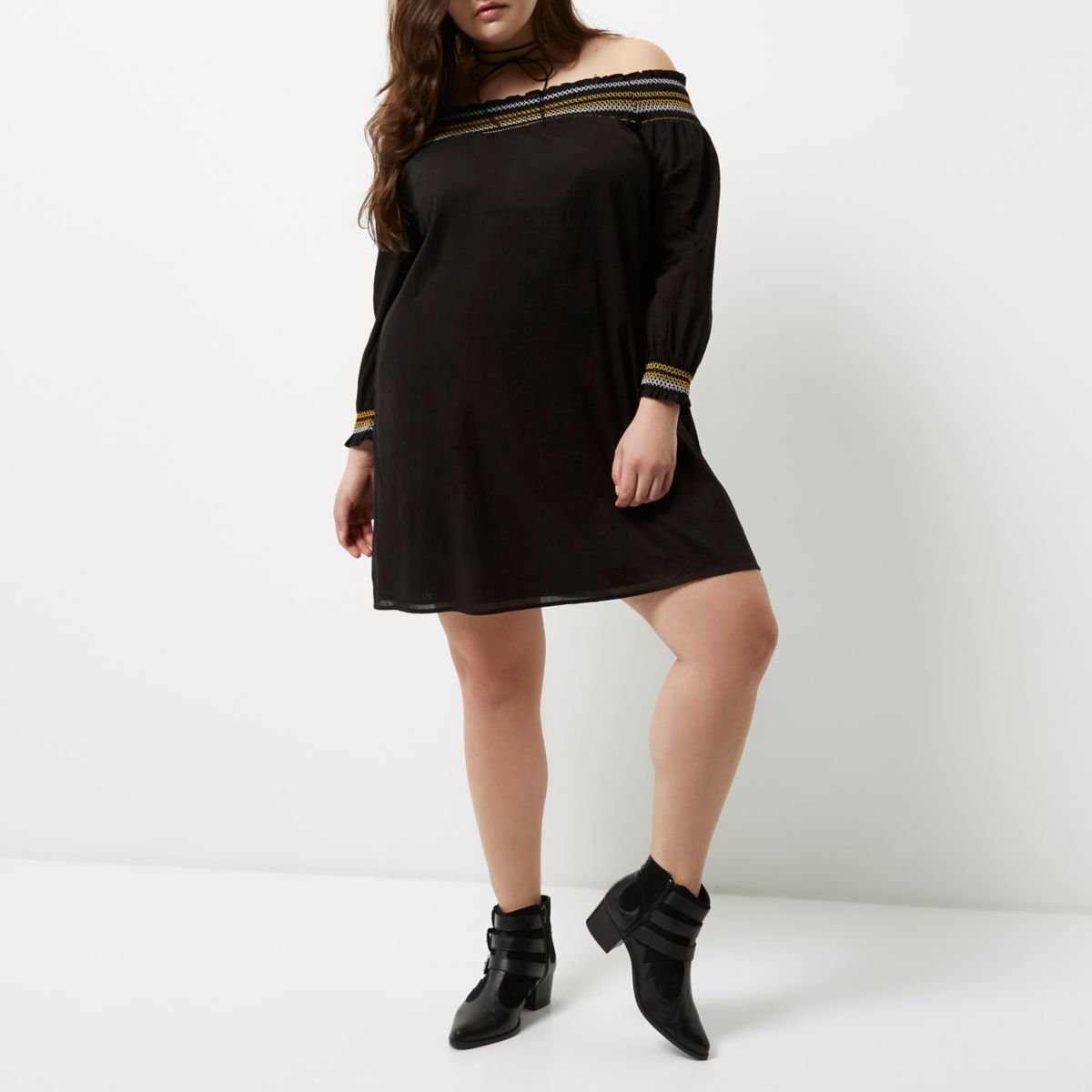 Plus black shirred bardot dress