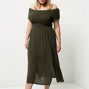 Plus – Bardot-Maxikleid in Khaki