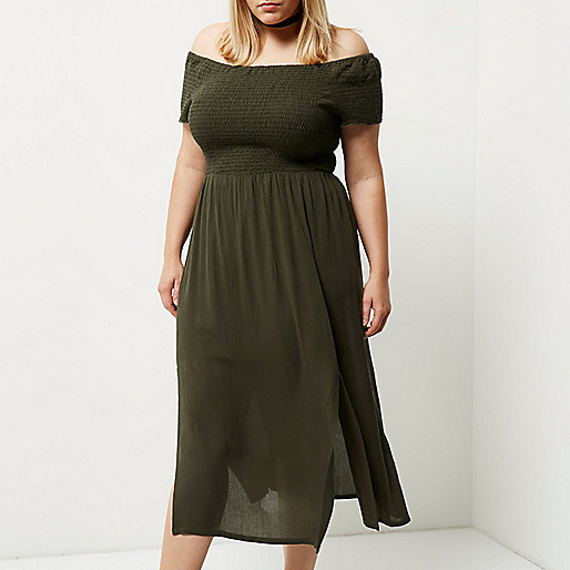 Plus khaki green shirred bardot maxi dress