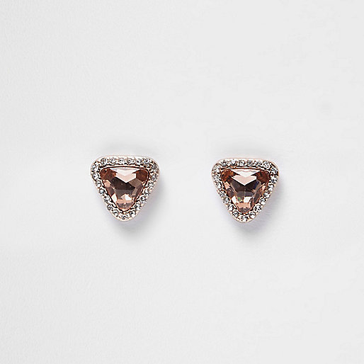 Rose gold tone gem rhinestone stud earrings