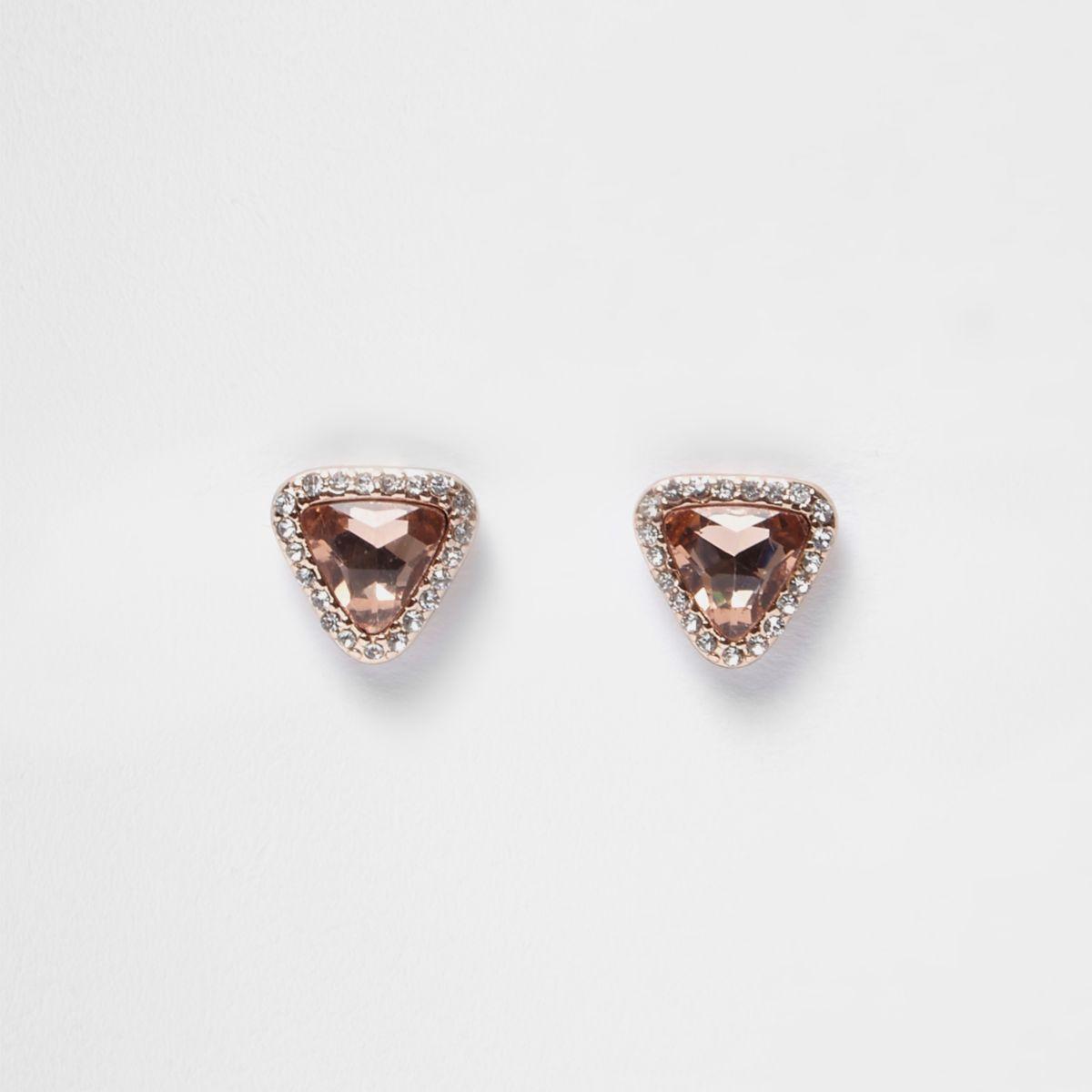Boucles d'oreilles or rose avec strass et pierres fantaisie