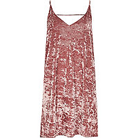 Pink marble velvet mini slip dress