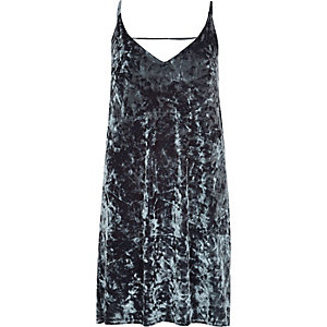 Grey marble velvet cami dress