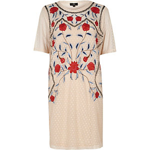 Cream mesh floral embroidered T-shirt dress