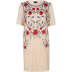 T-Shirt-Kleid in Creme mit Blumenstickerei