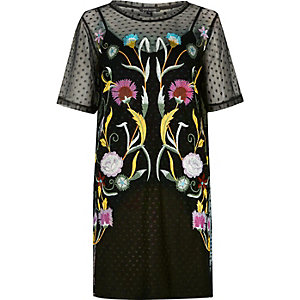 Black embroidered mesh T-shirt dress