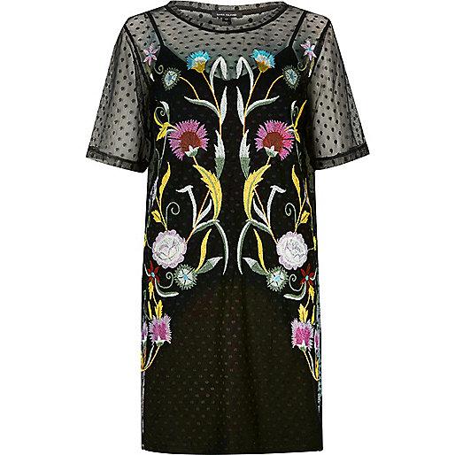 Black embroidered mesh T-shirt dress