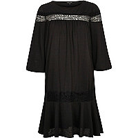 Black short sleeve lace smock dress