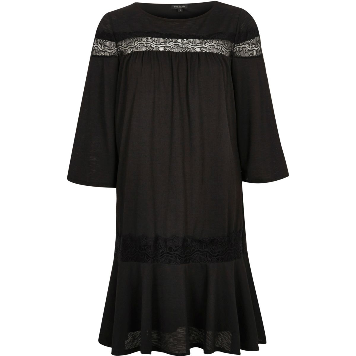 Black short sleeve lace smock dress