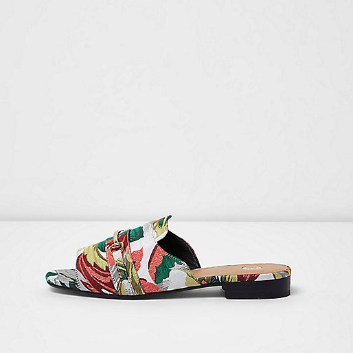 Green floral jacquard backless loafers