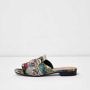 Black floral jacquard backless loafers