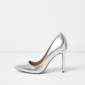 Silver metallic court shoes