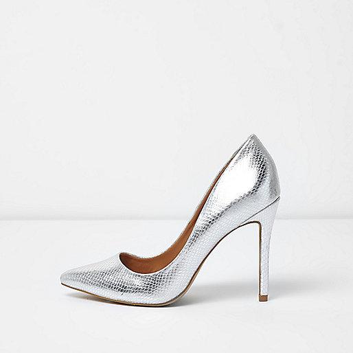 Silver metallic court shoes