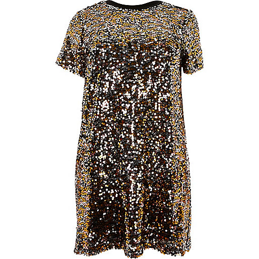 Plus gold sequin T-shirt dress