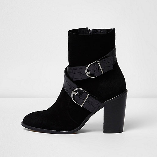 Black cowboy buckle ankle boots