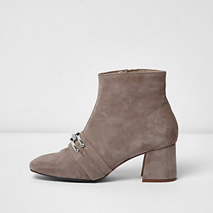 Nude suede chain link ankle boots