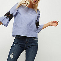 Petite blue stripe crochet bell sleeve top