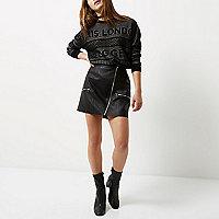 Petite black knit blogger sweater