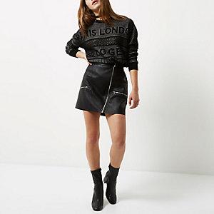 RI Petite - zwarte gebreide 'blogger' pullover