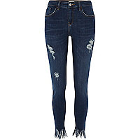 Dark wash frayed Amelie super skinny jeans