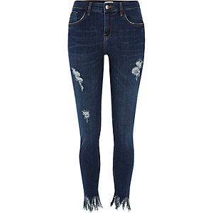 Amelie dark wash gerafelde superskinny jeans