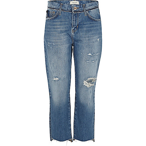 Mid blue distressed straight leg jeans