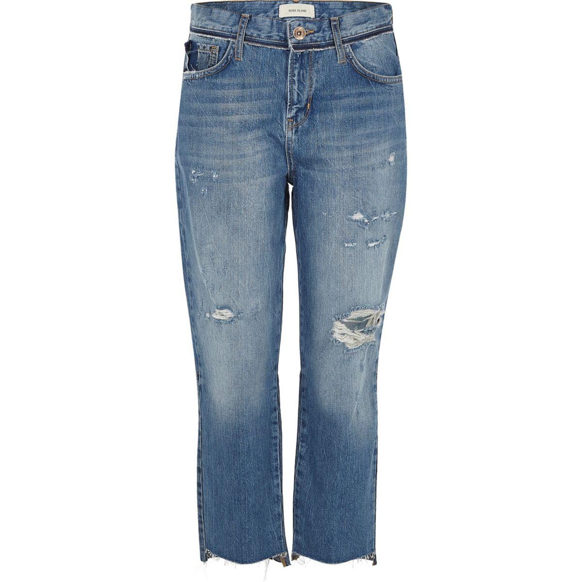 Middenblauwe distressed jeans met rechte pijpen