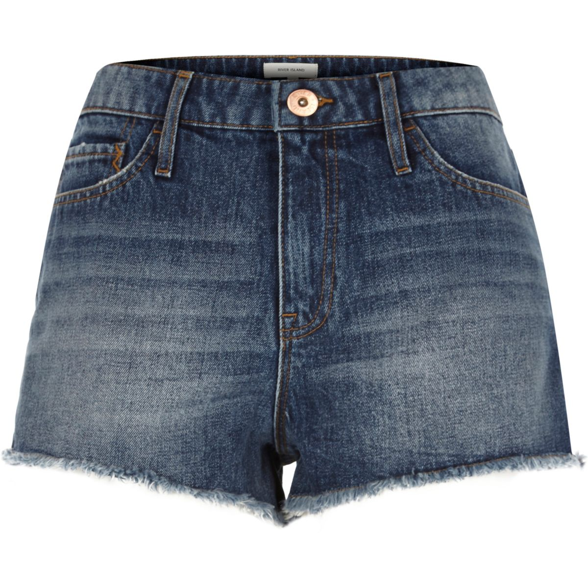 Jeans-Hotpants in mittelblauer Waschung