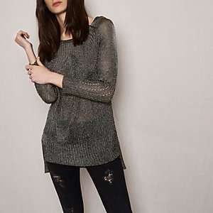 RI Studio khaki metallic ribbed knit jumper