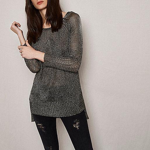 RI Studio khaki metallic ribbed knit sweater