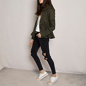 Khaki green RI Studio cropped utility jacket