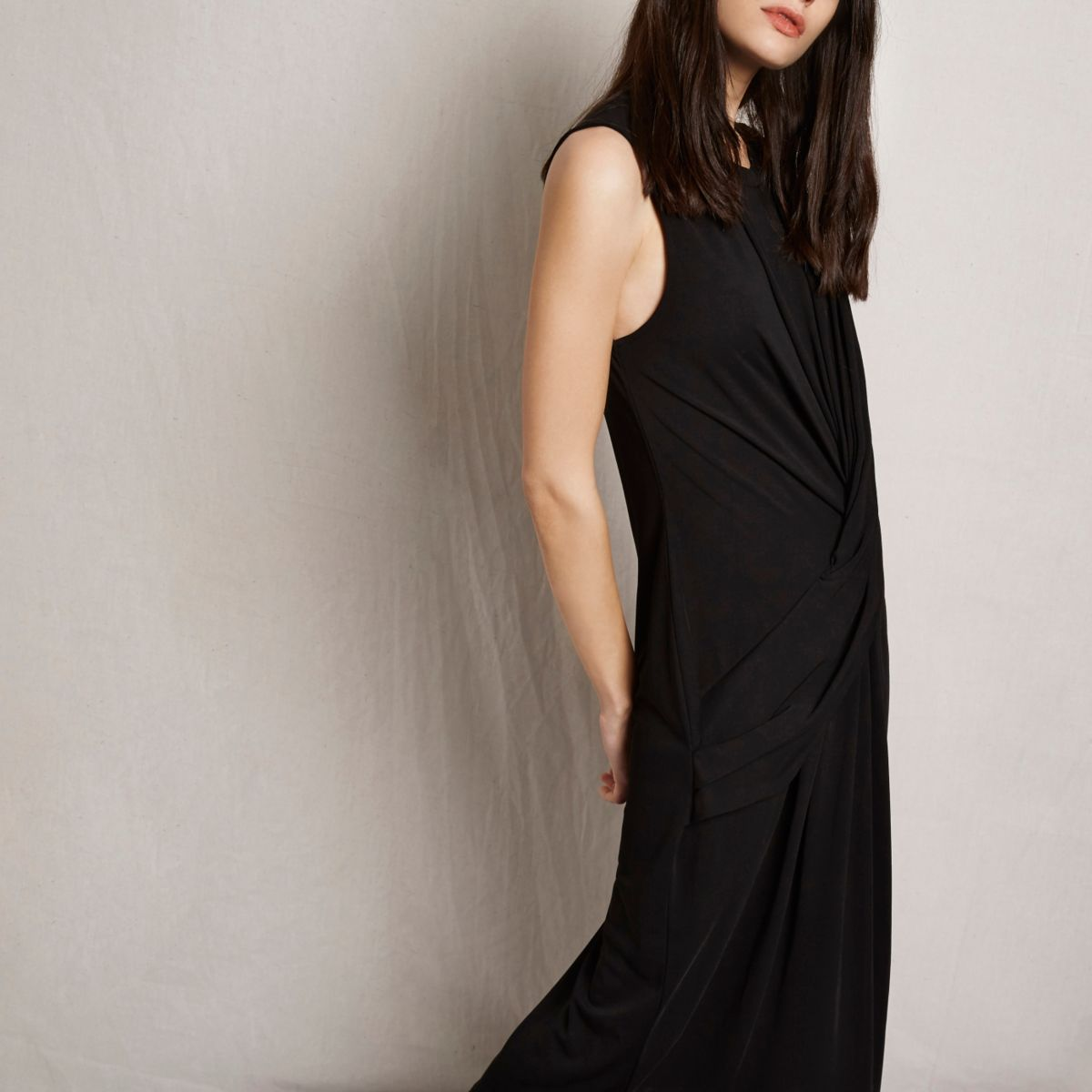 RI Studio black knot front midi dress