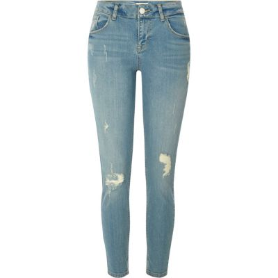 Lichtblauwe ripped relaxte skinny-fit jeans