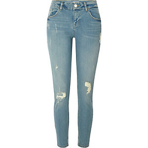 Hellblaue Skinny Fit Jeans im Used-Look