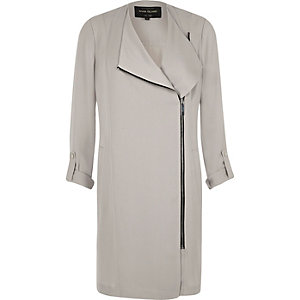 Light grey zip front duster coat