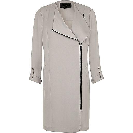 Light grey zip front duster coat
