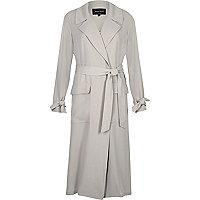 Light grey belted duster coat