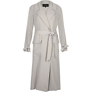Light grey belted duster coat