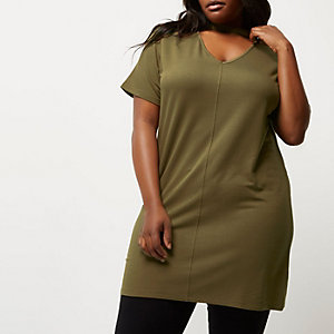 Plus khaki green oversized choker T-shirt