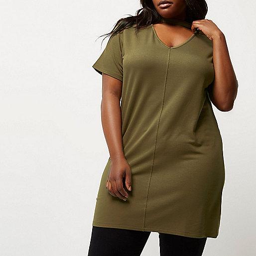 Plus khaki green oversized choker T-shirt