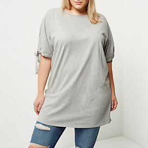 Plus grey marl tie sleeve longline T-shirt